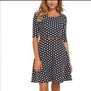 Modcloth Yumi black polka dot fit flare dress 2 4